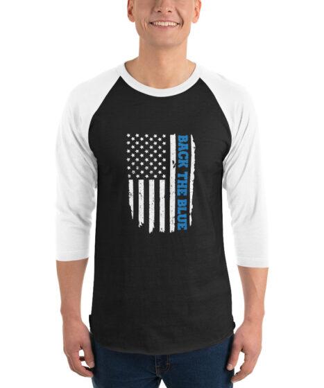 Back The Blue Flag 3/4 sleeve raglan shirt