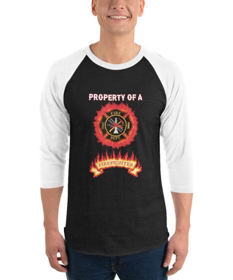 Property of Firefighter 3/4 sleeve raglan shirt