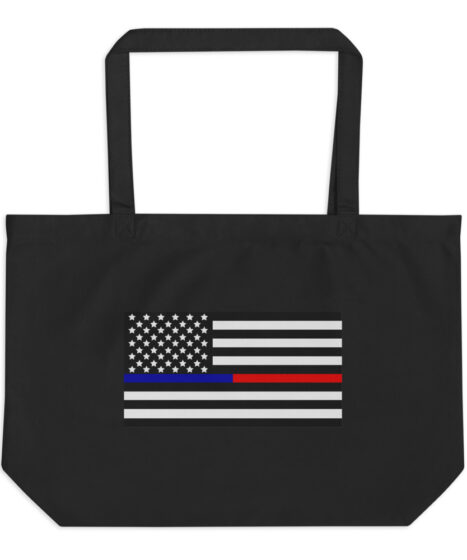 Back the Blue & Red Thin Line USA Flag Large organic tote bag
