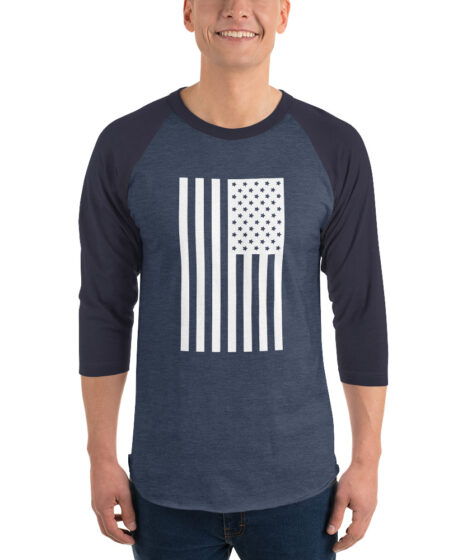 USA Flag 3/4 sleeve raglan shirt
