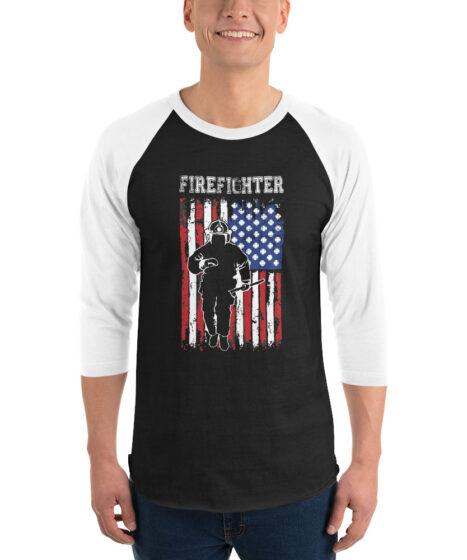 Firefighter 3/4 sleeve raglan shirt