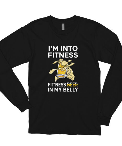 Into Fitness Beer In My Belly Long sleeve t-shirt