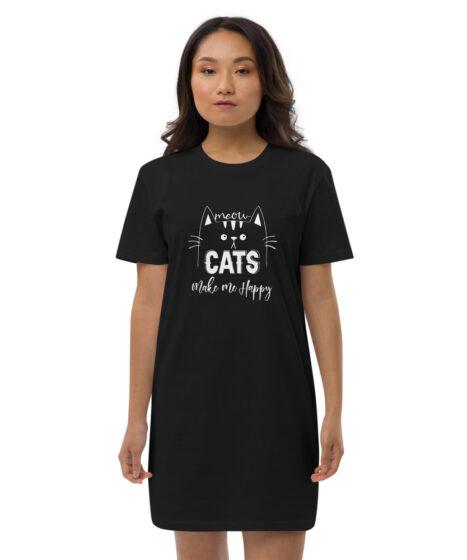 Cats Make Me Happy Organic cotton t-shirt dress