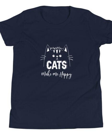 Cats Make Me Happy  Youth Short Sleeve T-Shirt