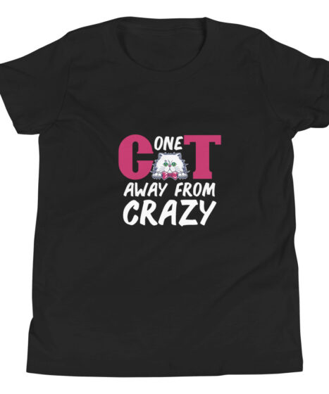 One Cat Away From Crazy Youth Short Sleeve T-Shirt